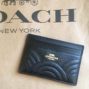 NWT Auth Coach Black Leather CC Holder New Quilted